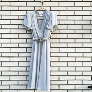 Vintage Leslie Fay Dove Grey Midi Cocktail Dress